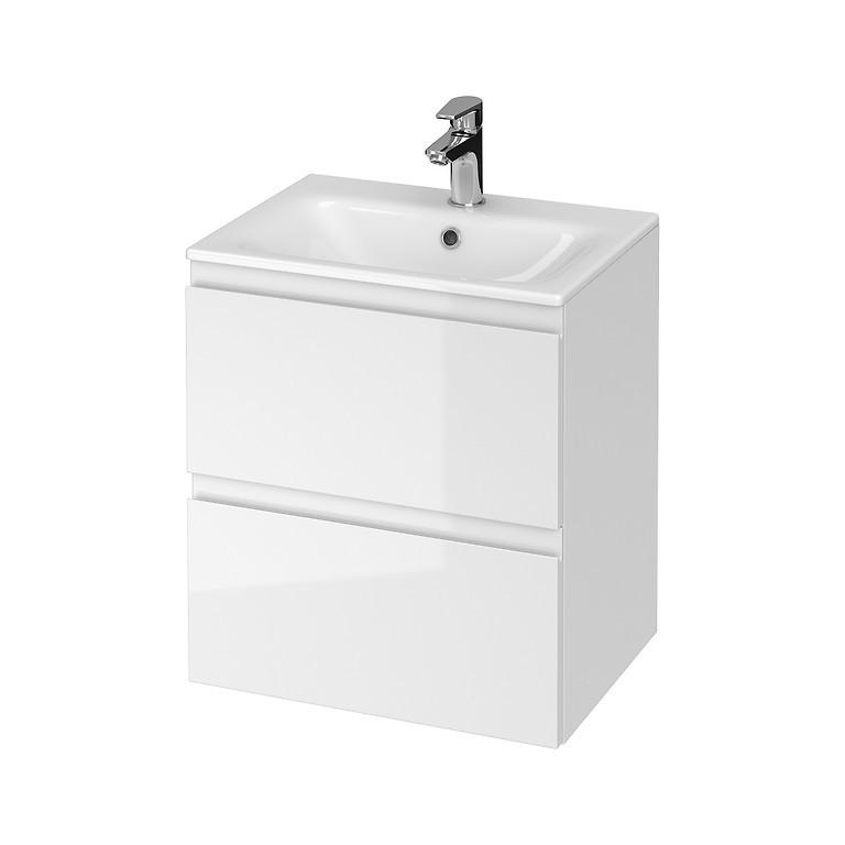Set mobilier B273 suspendat si lavoar ceramic Cersanit Moduo, 50 cm, alb