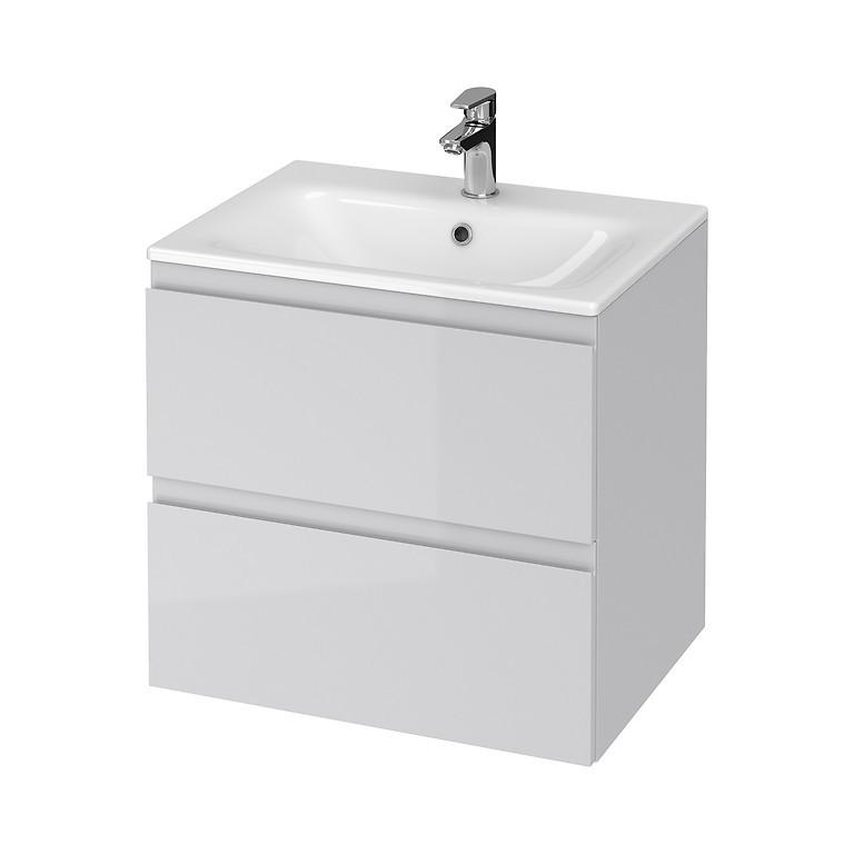 Set mobilier B274 suspendat si lavoar ceramic Cersanit Moduo, 60 cm, gri