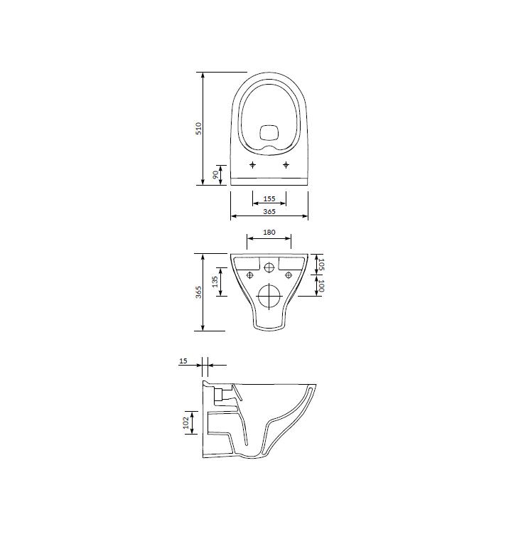 Set B291 Wc suspendat Cersanit Mille Clean-On + capac slim, inchidere lenta, demontare rapida