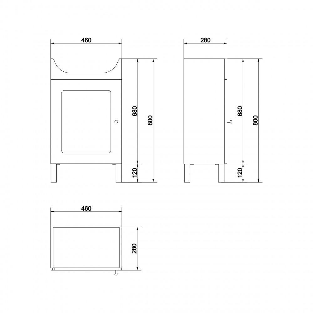 SET 876 Mobilier suspendat + lavoar Cersanit Arteco New 50 cm, alb
