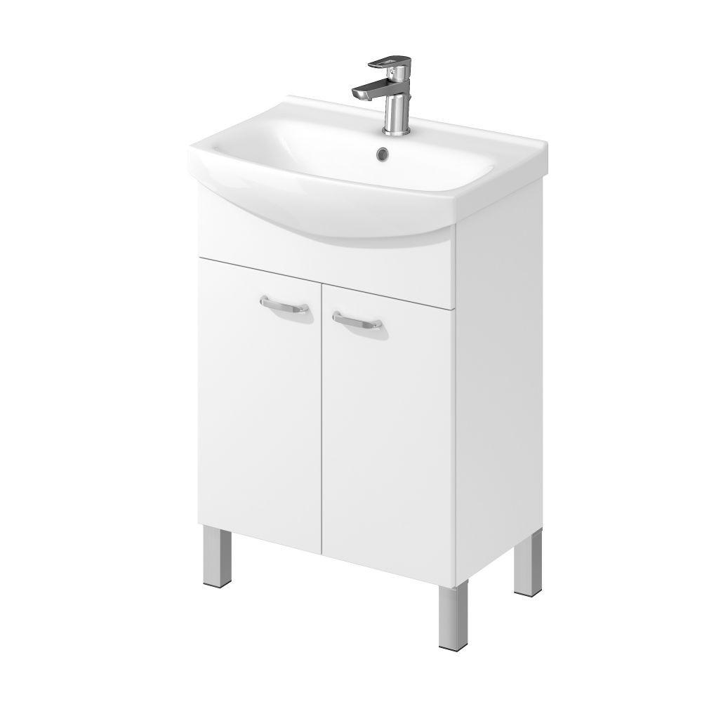 Set mobilier A72 suspendat si lavoar ceramic Cersanit Flavis Cersania 60 cm, alb