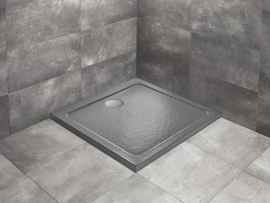 Cadita dus patrata Radaway Doros C Stone Anthracite 90x90 cm