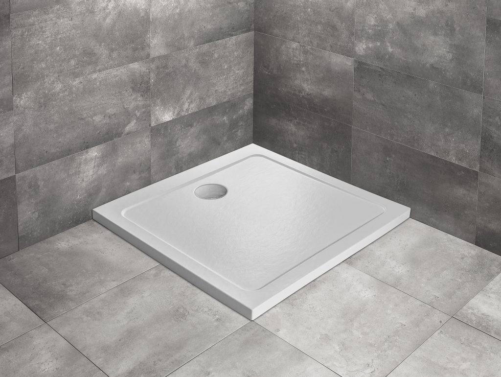 Cadita dus patrata Radaway Doros C Stone White 90x90 cm